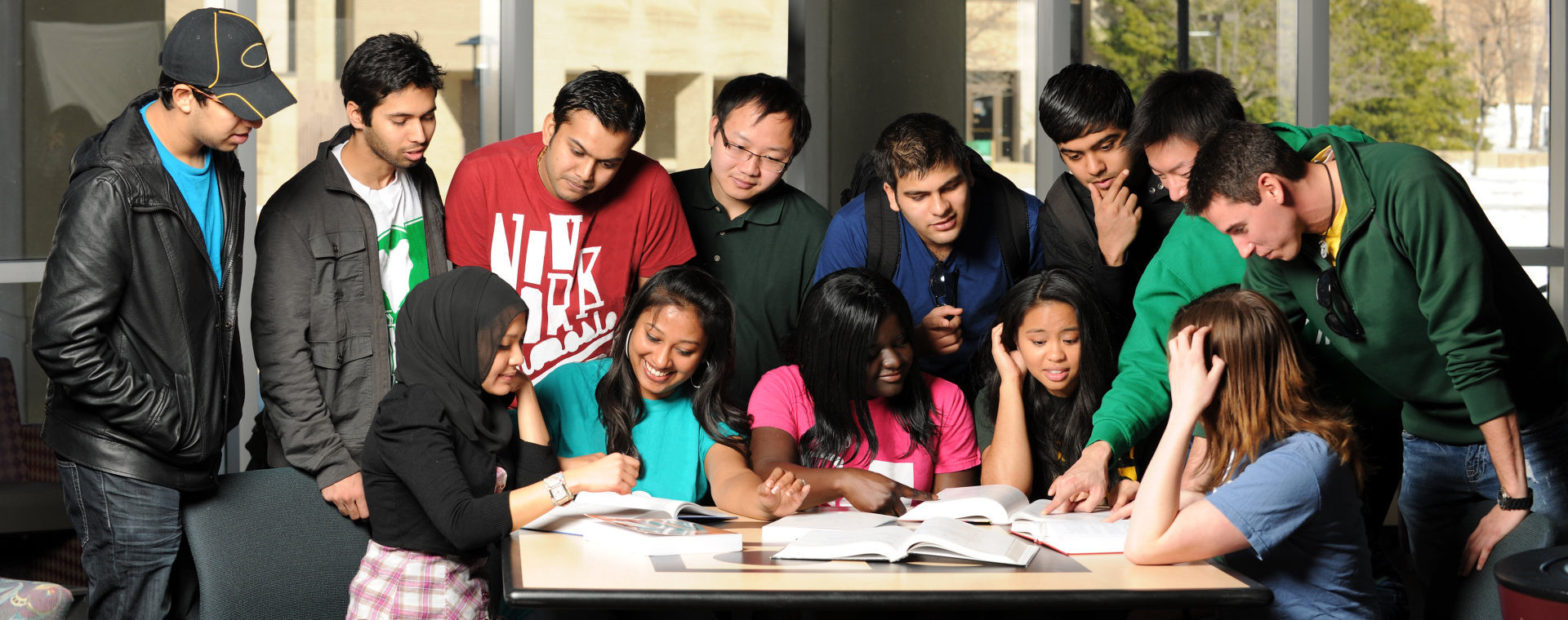 Group of students studying together