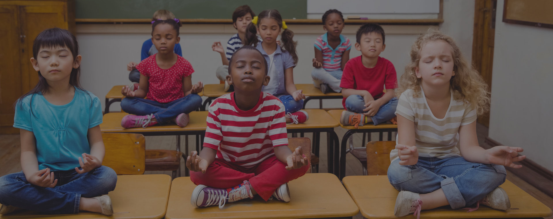 Students are  doing meditation