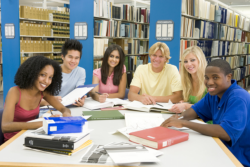 Students are studying at the library